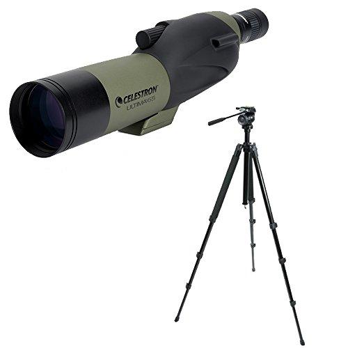 Celestron Ultima 65mm Spotting Scope w/18-55x Eyepiece (Angled Viwing) w/Trailseeker Tripod Kit