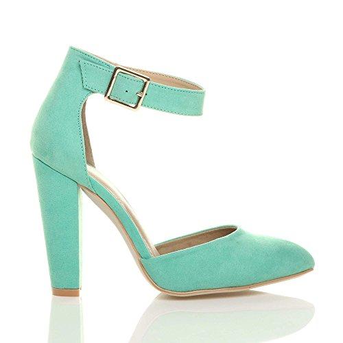 ... Damen Hochblockabsatz Mode Schnalle Spitz Pumps Knöchelriemen Schuhe  Größe Minzgrün Wildleder ...