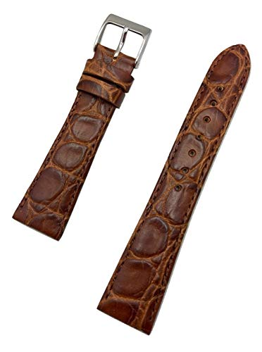 20mm Brown Genuine Leather Watch Band | Round Alligator Crocodile Grained, Lightly Padded Replacement Wrist Strap That Brings New Life to Any Watch (Mens Standard Length)