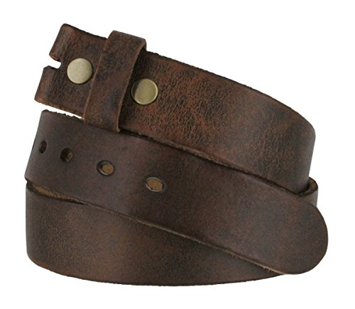 Fullerton 384002 Genuine Full Grain Vintage Distressed Leather Belt Strap 1-1/2 (38mm) - Brown, 34