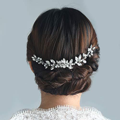 Barogirl Floral Wedding Crystal Hair Comb Slide Rhinestones Bridal Hair Piece for Brides and Bridesmaids (Silver)