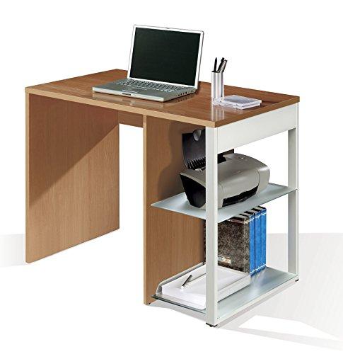 Mesa de oficina, ordenador o escritorio en color cerezo, pata lateral metalica y estantes regulables 100x6