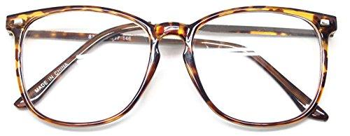 Retro Nerd Geek Oversized Framed Clear Lens Eye Glasses Spring Temple Spectacles (Leopard - Glasses Plastic Framed