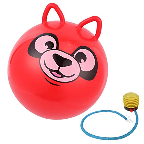 Jili Online 18'' Cute Jump Bouncing Hop Space Hopper Ball Cat Ear Shaped handle Kids Outdoor Toy Inflatable Red 18' Hop Ball