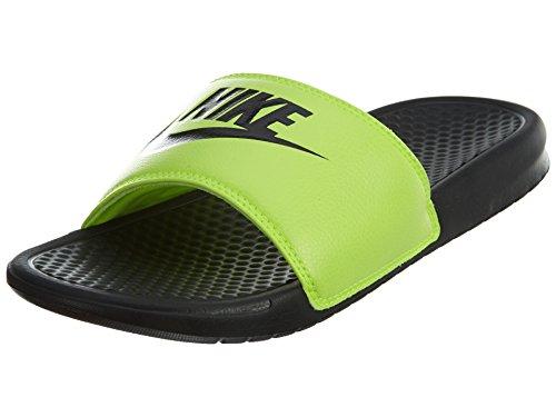 Nike Mens Benassi Doe Het Gewoon Atletische Sandaal Zwart / Zwart / Volt