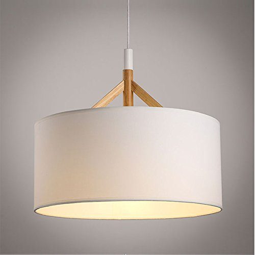 (OAKLIGHTING Black White Round Fabric Shade Wood Pendant Light Modern Pendant Lamp for Dining Room (White))