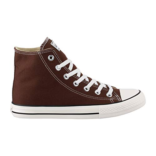 Sportschuhe Schuhe für Damen Top Herren High Sneaker Unisex Elara Turnschuh Brown Textil FvBqZn6v