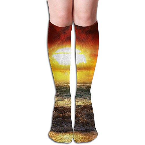 (Unisex Knee High Long Socks Seaside Sunset Over Calf Casual Sport Stocking Cotton )