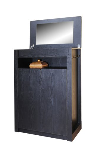 ioHOMES Grand 5-Shelf with Mirror Top Shoe Cabinet, Black
