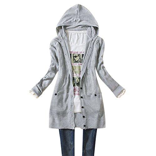 UEB レディース カーディガン カジュアル式 長袖 ニット コート ハット付き 秋物 フリーサイズ 5色 (ライトグレー)