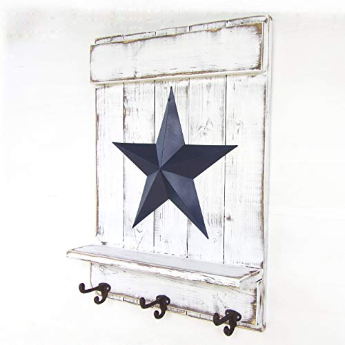 Handmade Distressed Wood Barn Star Wall Mount Coat Rack with Shelf and Cast Iron Hooks, 5 Finishes