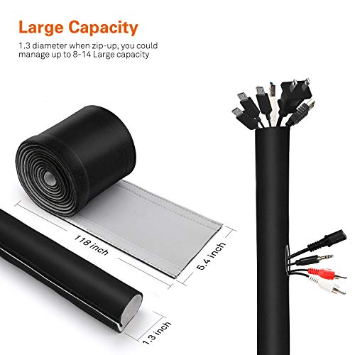 Vivefox Cable Management Sleeve with 10 Cable Ties - Neoprene Cable Organizer with Flexible Cord Wrap Covers Wire Hider Black and White, DIY by Yourself for TV Computer Home Office (118inch)