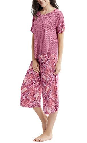 Summer Pajamas for Women - Stylish Print Ladies Pajama Set, Oversized Shirt Capri Lounge Pants, Gypsy Patch XL
