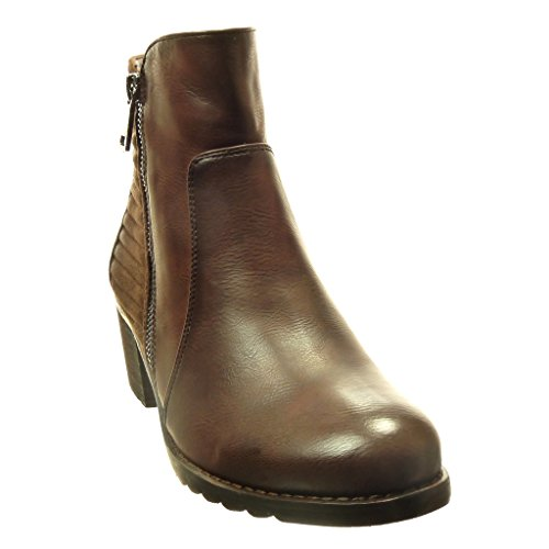 Block Heel 5 Biker high Ankle Zip line Shoes Boots Material Women's Booty 5 bi Brown cm Fashion Angkorly x4gwHqAf