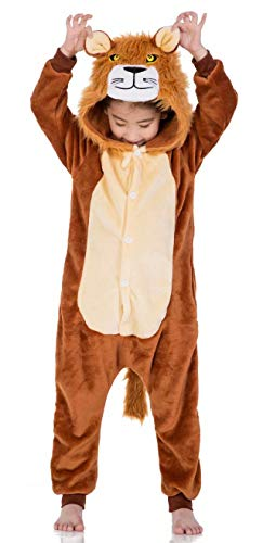 AceChic Unisex Animal Onesie for Kids Halloween Costume Christmas Pajamas Playsuit Jumpsuit Lion 140 -