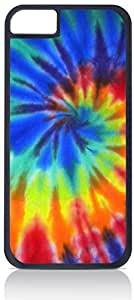 Tie-Dye- Case for the Apple Iphone 6 (4.5)-Hard Black Plastic Outer Shell with Inner Soft Black Rubber Lining