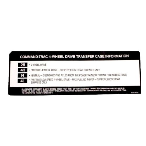Omix-Ada 18676.77 Transfer Case Sunvisor Decal (Jeep Sun Visor Decal compare prices)
