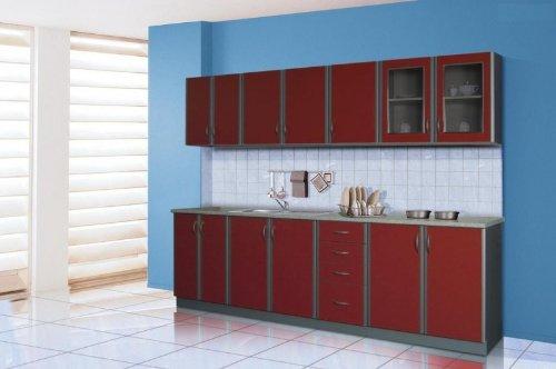 Küche Club Rubin 260cm Küchenzeile / Küchenblock variabel stellbar in rubinrot / silber