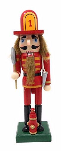 Nantucket Home Wooden Christmas Nutcracker Decor, 10-Inch (Fireman)