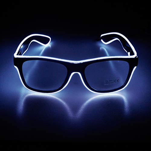 Aquat Glow Flashing LED Neon Rave Glasses El Wire Sunglasses Light up Costumes For Party, EDM, Halloween RB01 (White, Black Frame) -