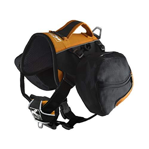 (Kurgo Big Baxter Dog Backpack, Dog Saddlebag, Dog Pack, Adjustable Saddlebag for Hiking, Walking, Running, Camping, Black/Orange)