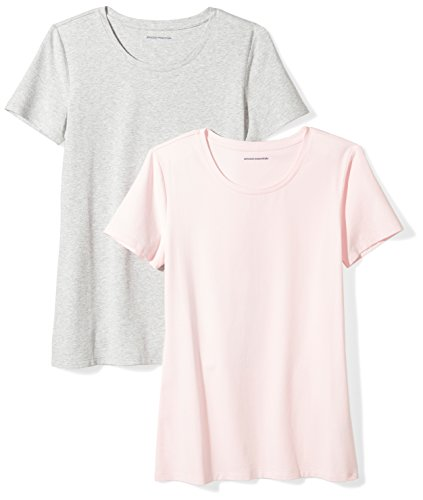 Amazon Essentials Women's 2-Pack Short-Sleeve Crewneck Solid T-Shirt, Light Pink/Light Grey Heather, (Easy Womens Pink T-shirt)