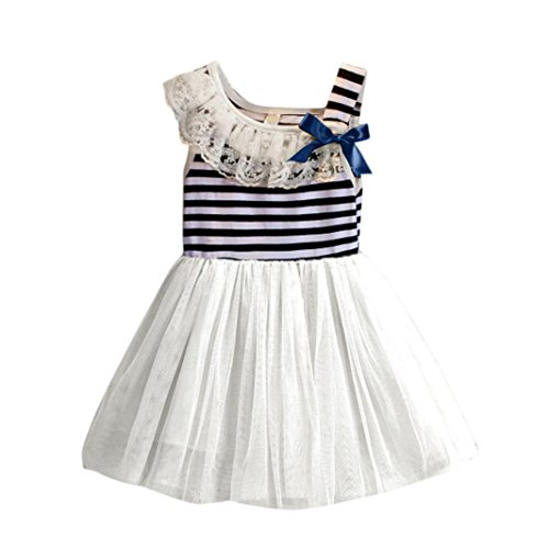 [Hot Baby Dress! AMA(TM) Toddler Kids Baby Girls Striped Sleeveless Bowknot Tulle Tutu Princess Party Dress (2T,] (Hearts Costumes Shoe)