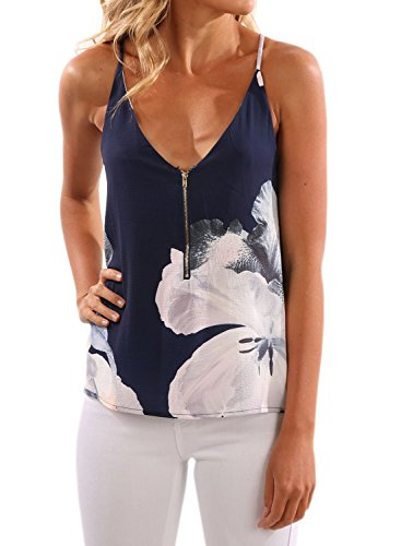 WLLW Women Spaghetti Strap Front Zipper Floral Print Shirt Tops Tanks Camis, Navy, Large