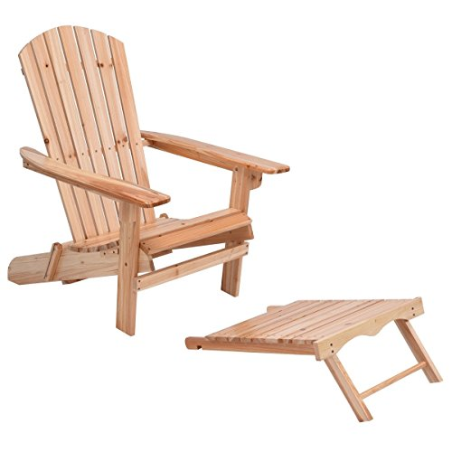 Patio Foldable Wood Adirondack Chair w/ Footrest Stool - By Choice Products (Adirondack Patio Chair Footrest)