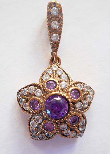 (Vintage Ottoman 925 silver gold vermeil amethyst and diamond flower pendant)