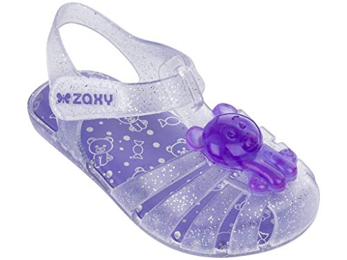 - Zaxy Gummy Baby Sandals, Glitter Clear/Lilac (8 US)