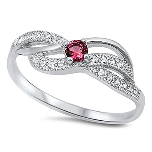 Infinity Knot Simulated Ruby Wedding Ring New .925 Sterling Silver Band Size 12