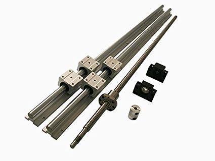 16mm ballscrew RM1605-400mm+BK//BF12 end bearing+15mm Linear Guideway 2 Rail CNC