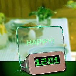 ZwbfuMessage Board Digital Alarm Clock LCD Electronic Clock Large Screen Romantic Fluorescent Light Mute Alarm Clock