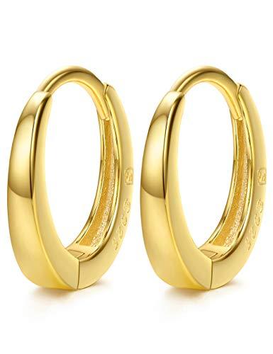 Small Hoop 925 Sterling Silver 24K Gold Plated Hypoallergenic Cuff Earrings Huggie Earrings Stud for Cartilage 13mm
