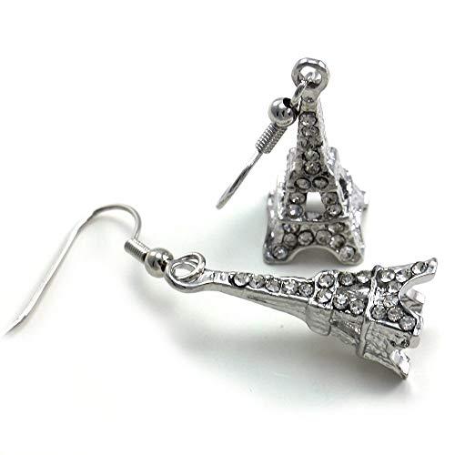 (Clear Paris France French Eiffel Tower Dangle Earrings Clear)