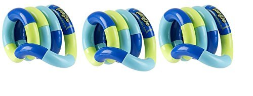 Set of 3 Loose Packed Tangle Jr. Original Classic Fidget Toys Green and Blue by TANGLE