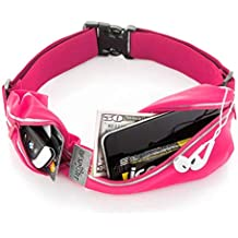 "Tenplus Running Waist Pack Compatible Sharp A2 Lite FS8026 5.7"", Waterproof Reflective Adjustable Running Belt with Dual Pouch Workout Fitness Gym Phone Holder for Men, Women (Pink)"