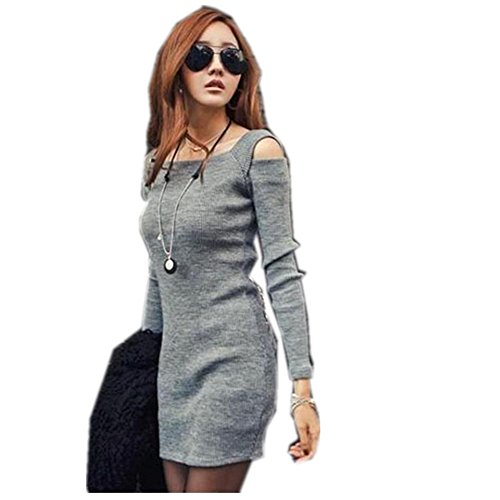 Boomboom Warm Women Crew Neck Long Sleeve Knitwear Mini Dress at Amazon Womens Clothing store: