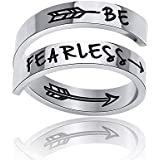 Inspirational Rings for Women Adjustable Statement Stainless Steel Spiral Wrap Twist Ring Encouragement Personalized Jewelry Birthday Gifts