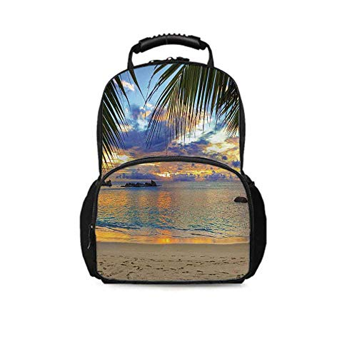 Coastal Decor Leisure School Bag,Sunset at Beach Rumbling Ocean Luxurious Resort With Palm Trees Travel Locations Picture for School Travel,One_Size