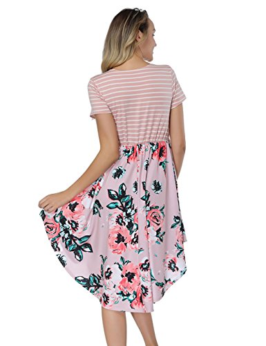Dress High Print Neck High Low Short Pink Midi Floral Crew Sleeve T Shirt Waist Striped Dress DANALA wvzqRZSWn