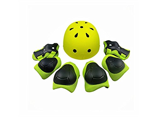 Skating 7 Pcs/Set Kid's Protective Gear Set with Helmet Elbow Knee Wrist Pad for Roller Skating Skateboard BMX Scooter Cycling (Green) for Protection by Wetietir