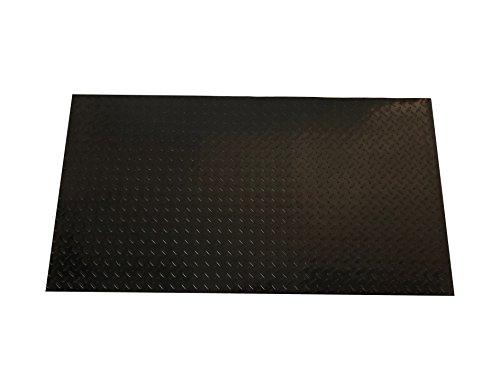 Resilia - Black Plastic Floor Runner/Protector - Embossed Diamond Plate Pattern, (27 Inches Wide x 25 Feet Long)