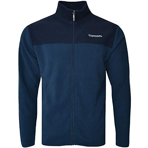 Lambretta Mens Full Zip Polar Fleece Two Tone Jacket - Denim Navy - XL