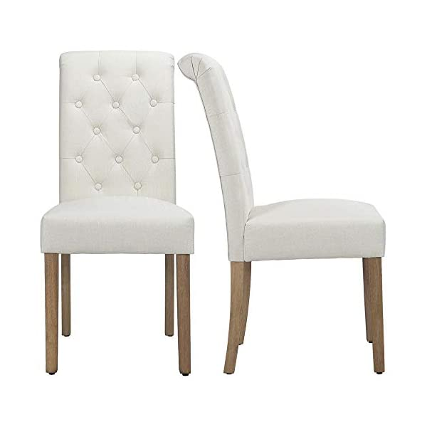 Yaheetech Solid Wood Dining Chairs Button Tufted Parsons Diner Chair Upholstered Fabric Dining Room Chairs Kitchen Chairs Set of 2, Beige