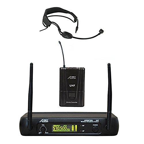Audio 2000s UHF Wireless Microphone 6073UH518 with Elastic and Removable Headband Headset For Aerobic, Yoga & Zumba ()