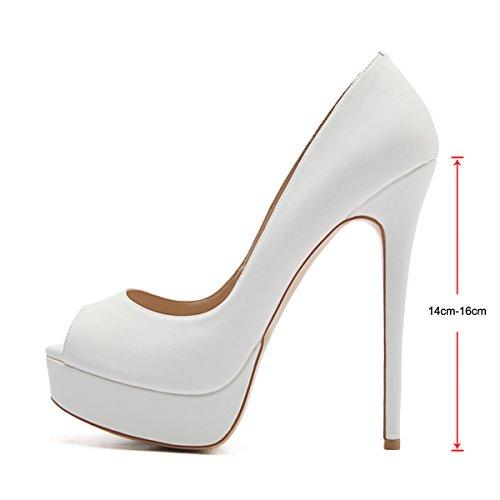 Peep White Pumps On High Heels Stiletto Women's Wedding Toe Platform Dress Sexy onlymaker Party Slip Shoes 0HqIZn