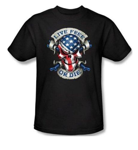 Black, Medium Lethal Threat LT20131M Mens LIVE FREE Skull Short Sleeve Shirt