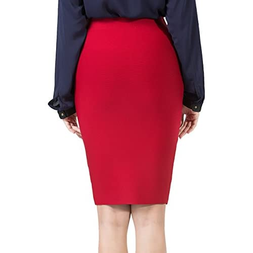 e6f65eff2 PERHAPS U Pencil Skirts Women's Stretchy High Waisted Midi Bodycon Office  Skirt well-wreapped